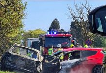 Burnt cars after A933 Car Crash - Travel News Scotland