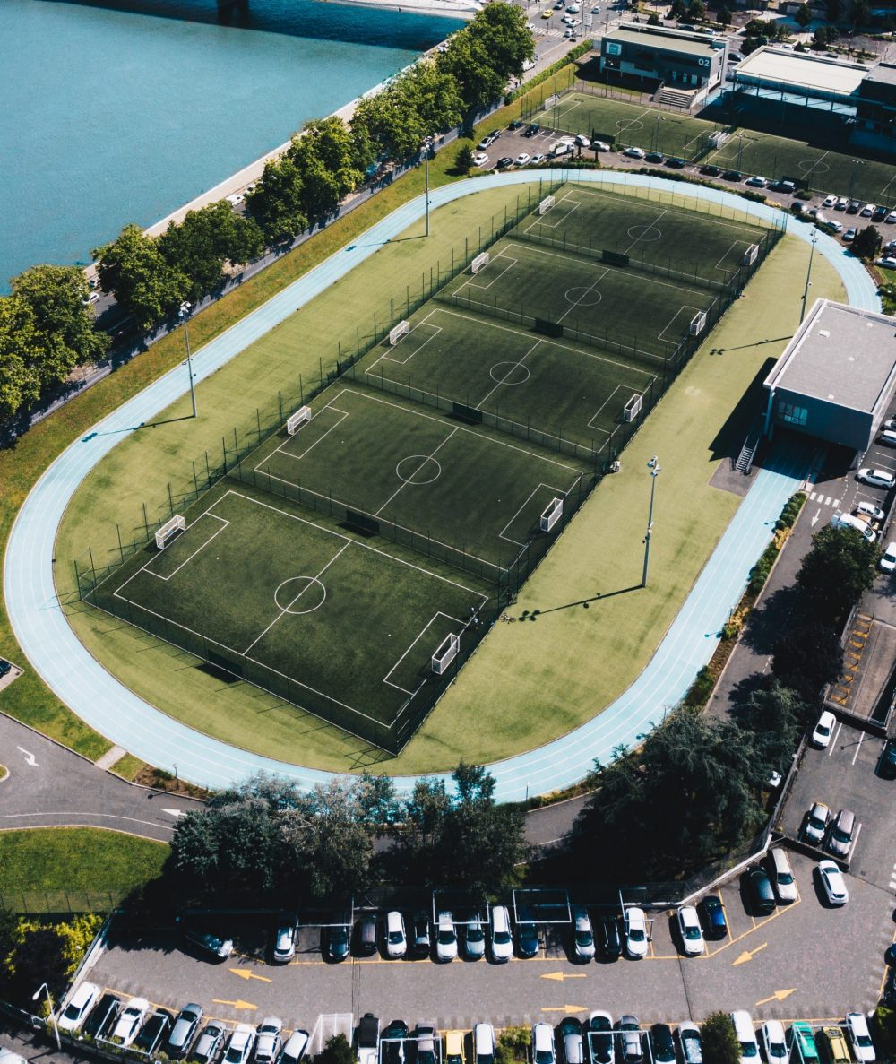 photo of football pitches in a row  Uk and World