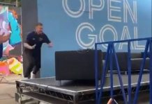 Andy Halliday about to fall on stage | Scottish Football News
