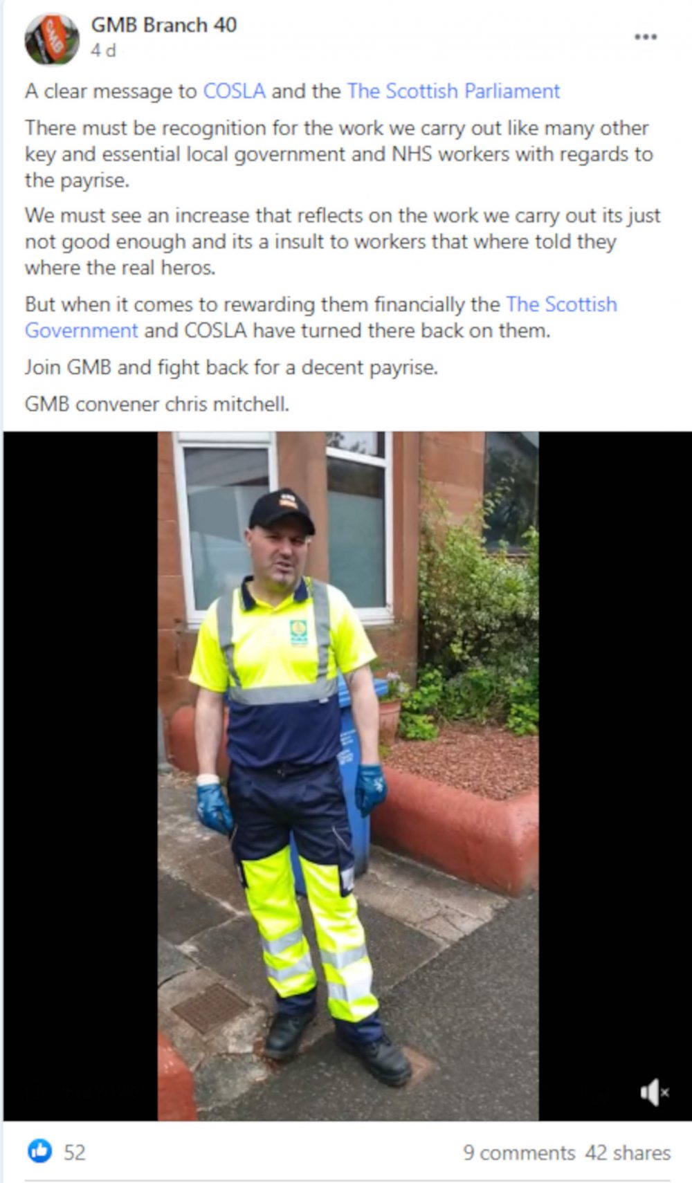 GMB Branch 40 bins post - Scottish News