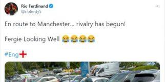 Rio Ferdinand with Scottish fans - Scottish News