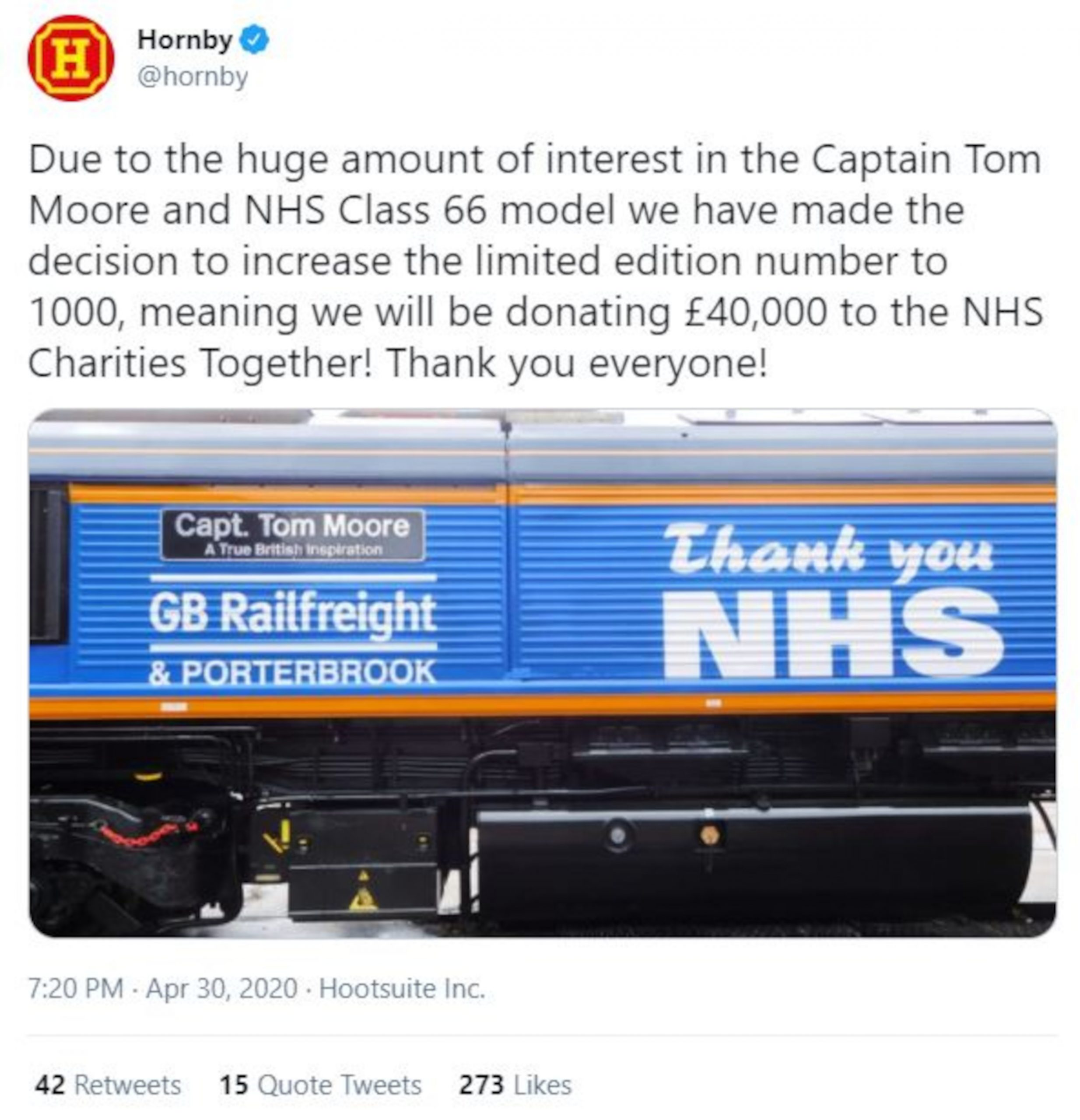 Hornby's tweet promoting the Captain Tom Moore train - Consumer News UK