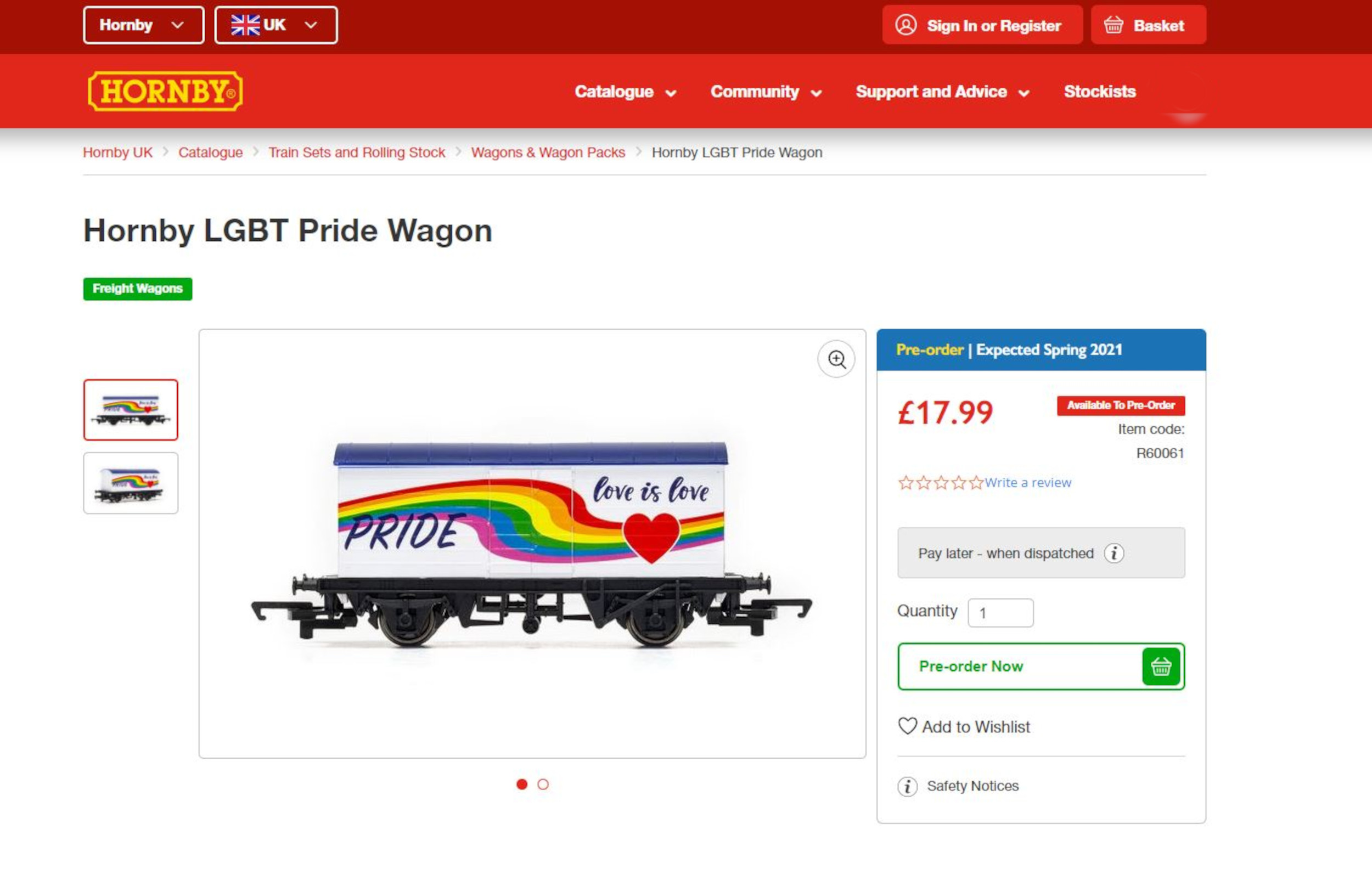 The listing for the Hornby LGBTQ+ wagon on their site - Consumer News UK