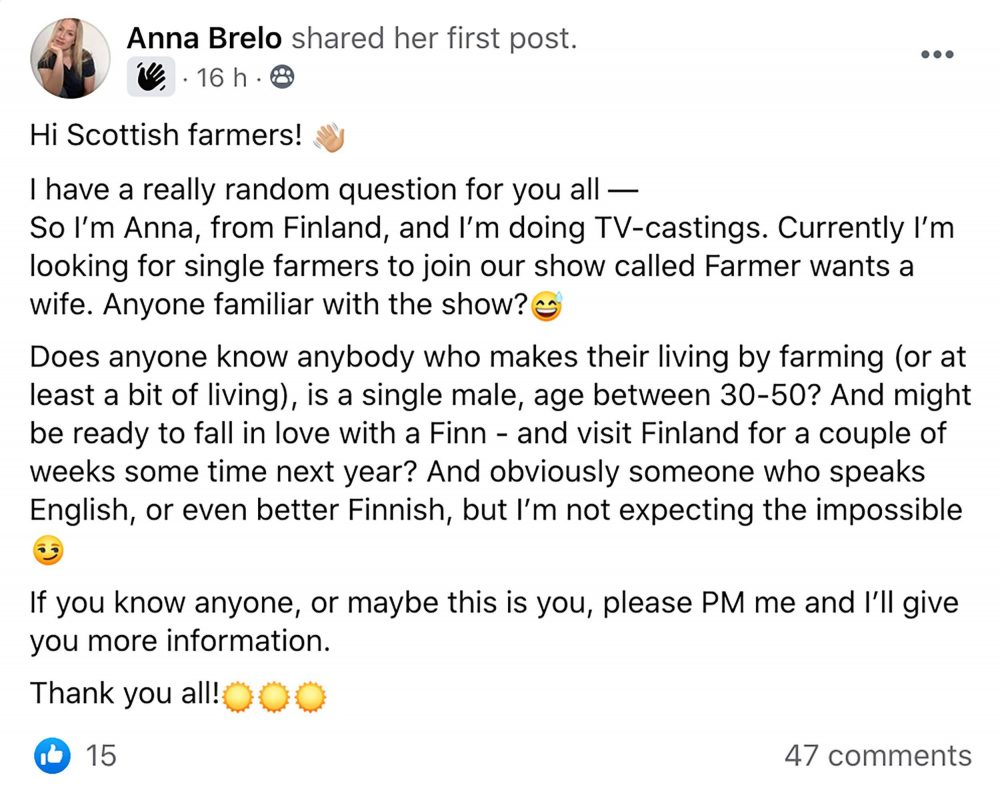 Many farmers tagged their friends in the post - Scottish Entertainment News
