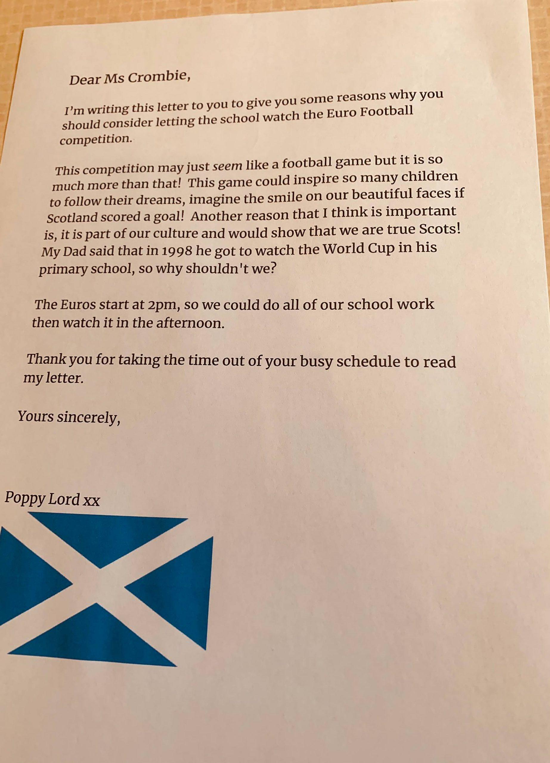 Poppy's brilliant letter - Scottish Football News