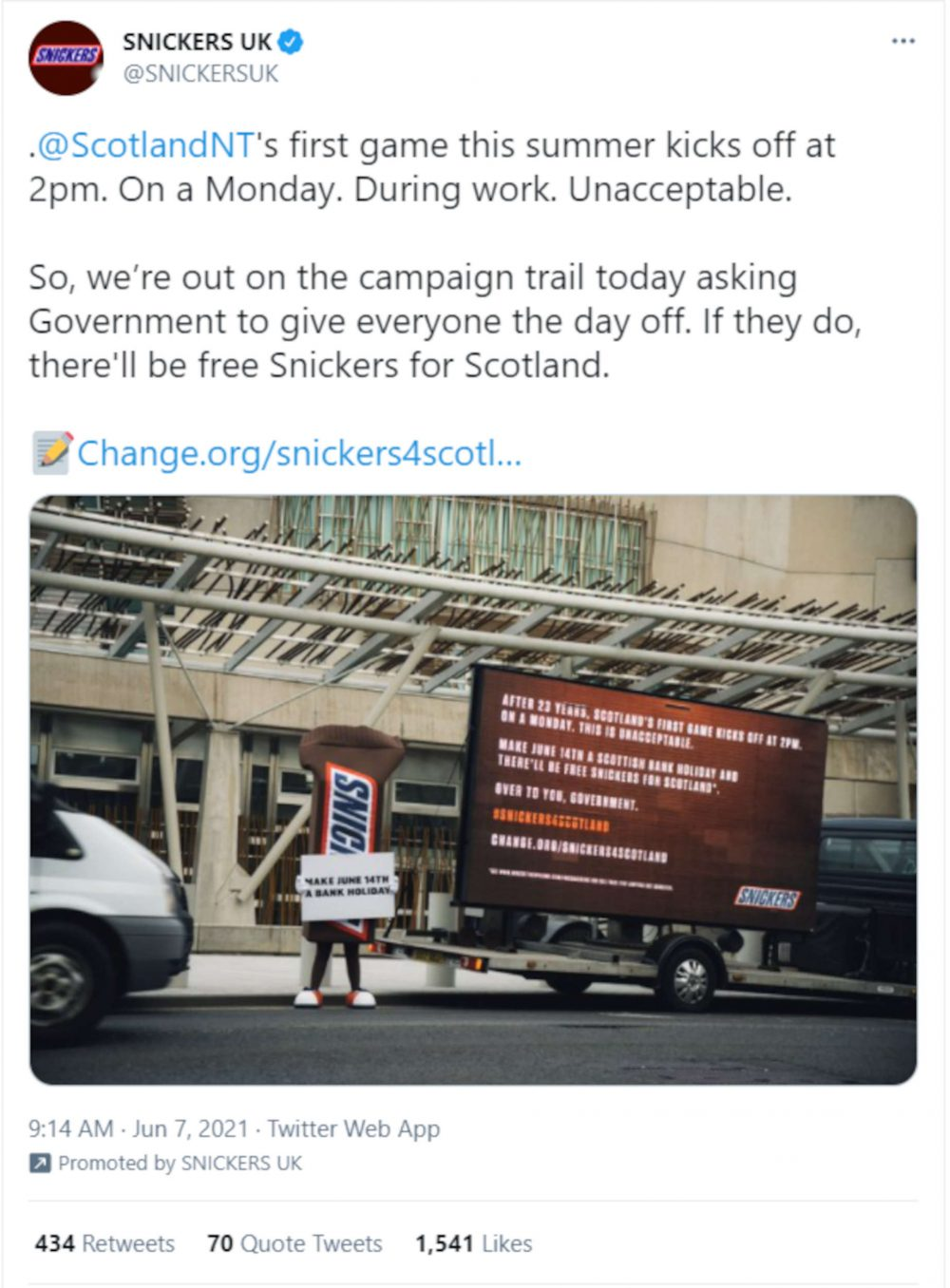 Snickers bank holiday petition post - Football News Scotland