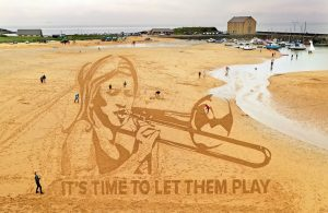 Design carved in the sand on Elie Beach in Fife to celebrate young musicians - Scottish News