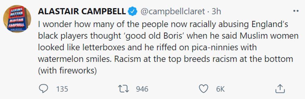 Alastair Campbell tweet | Politics News UK
