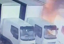 Burning petrol bomb next to HGV lorries | Crime News UK