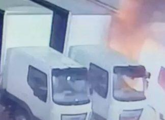 Burning petrol bomb next to HGV lorries   Crime News UK