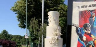 Wedding cake on top of bin | London News