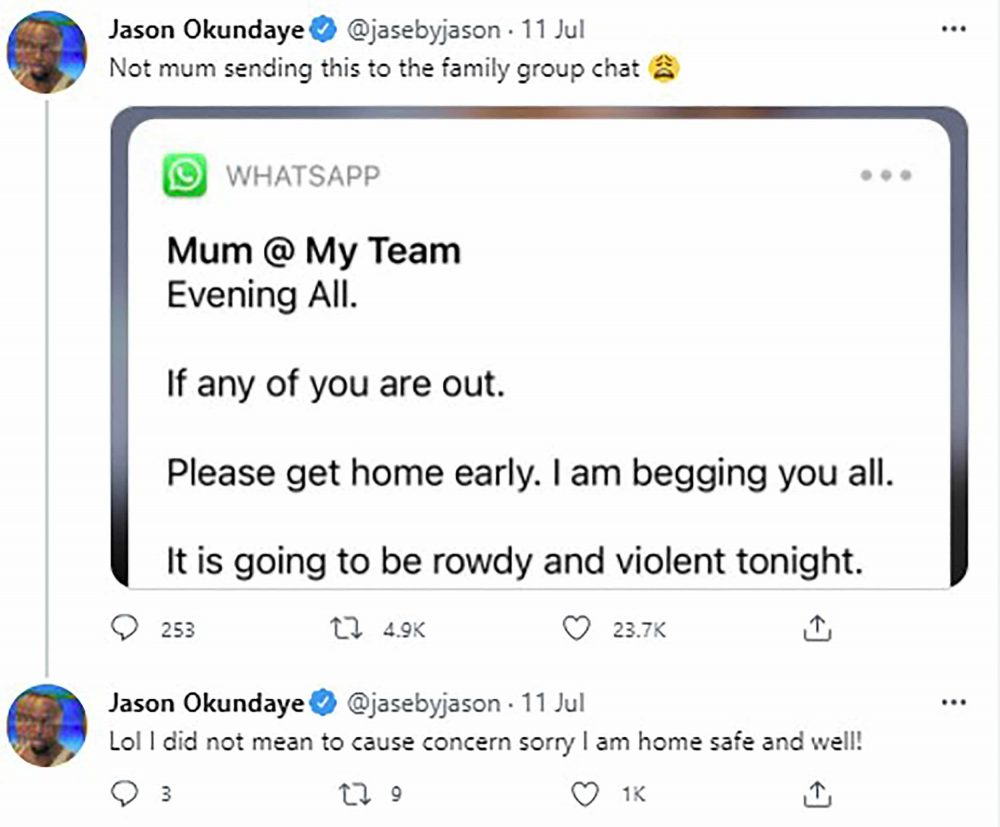Screenshots of the chilling texts - Euros News