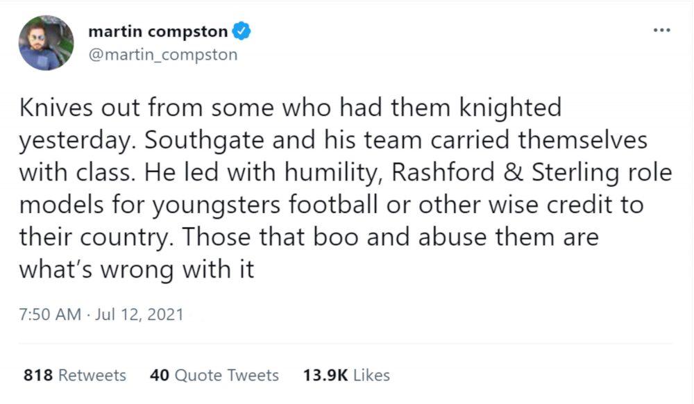 Martin Compston England tweet - Football News UK