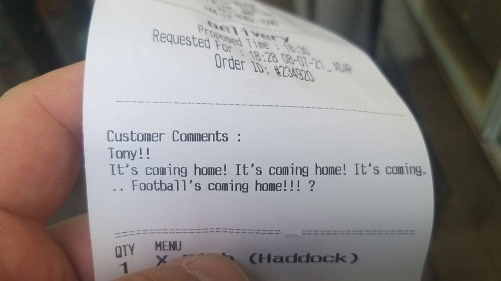 Its coming home takeaway note | Scottish News