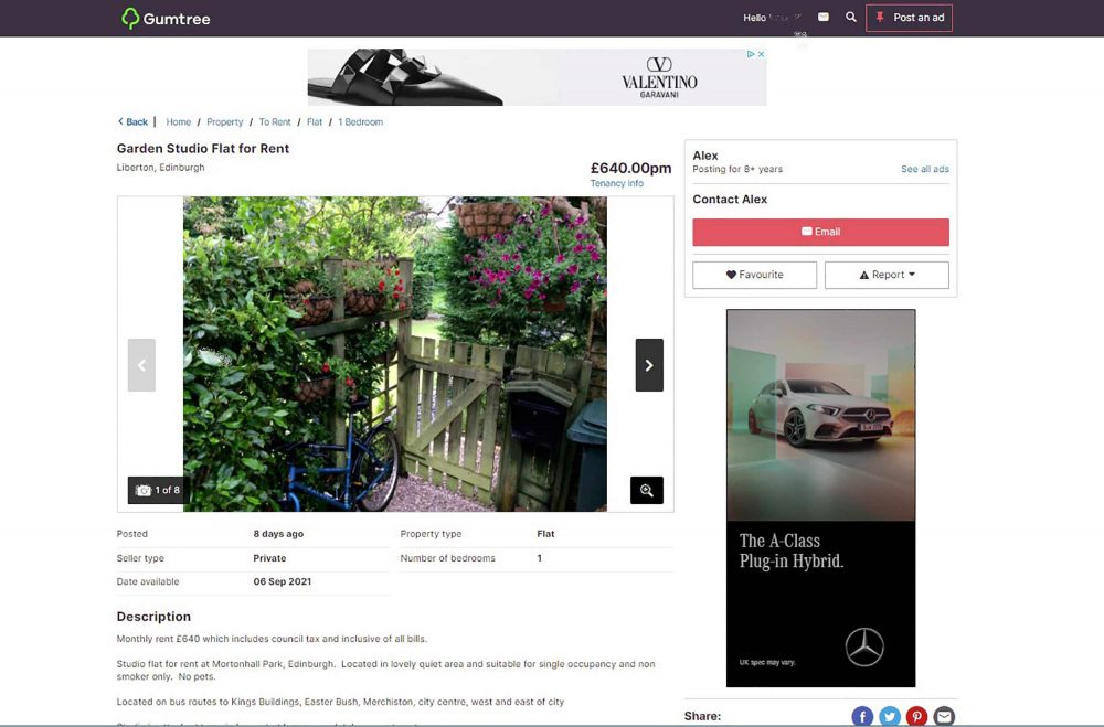 The advert has now been deleted - Scottish Property News