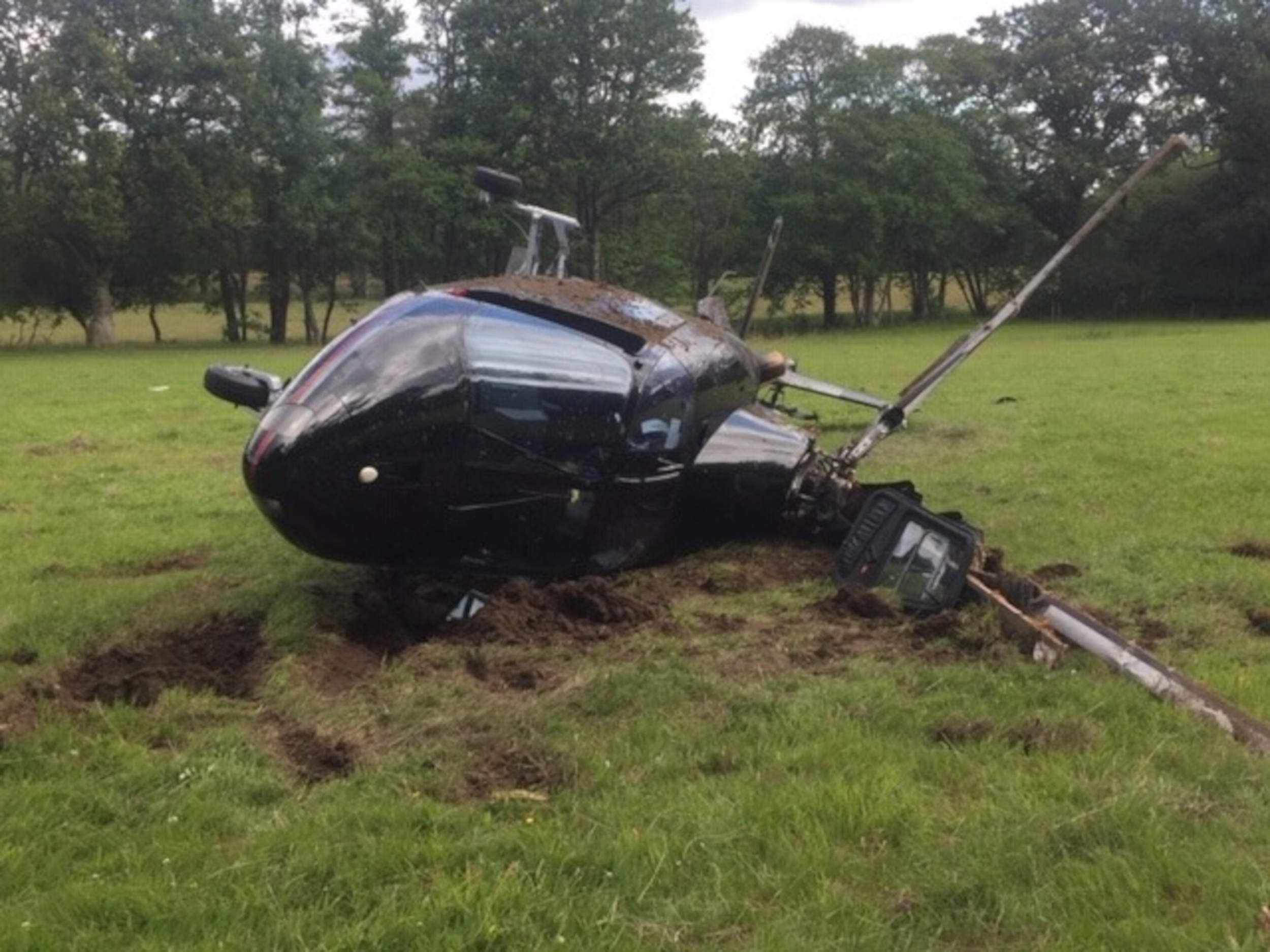 crashed helicopter from front Dorset - fire and rescue news UK