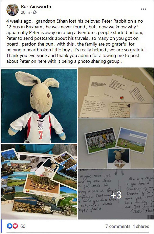 The Facebook post grandmother Roz shared - UK News