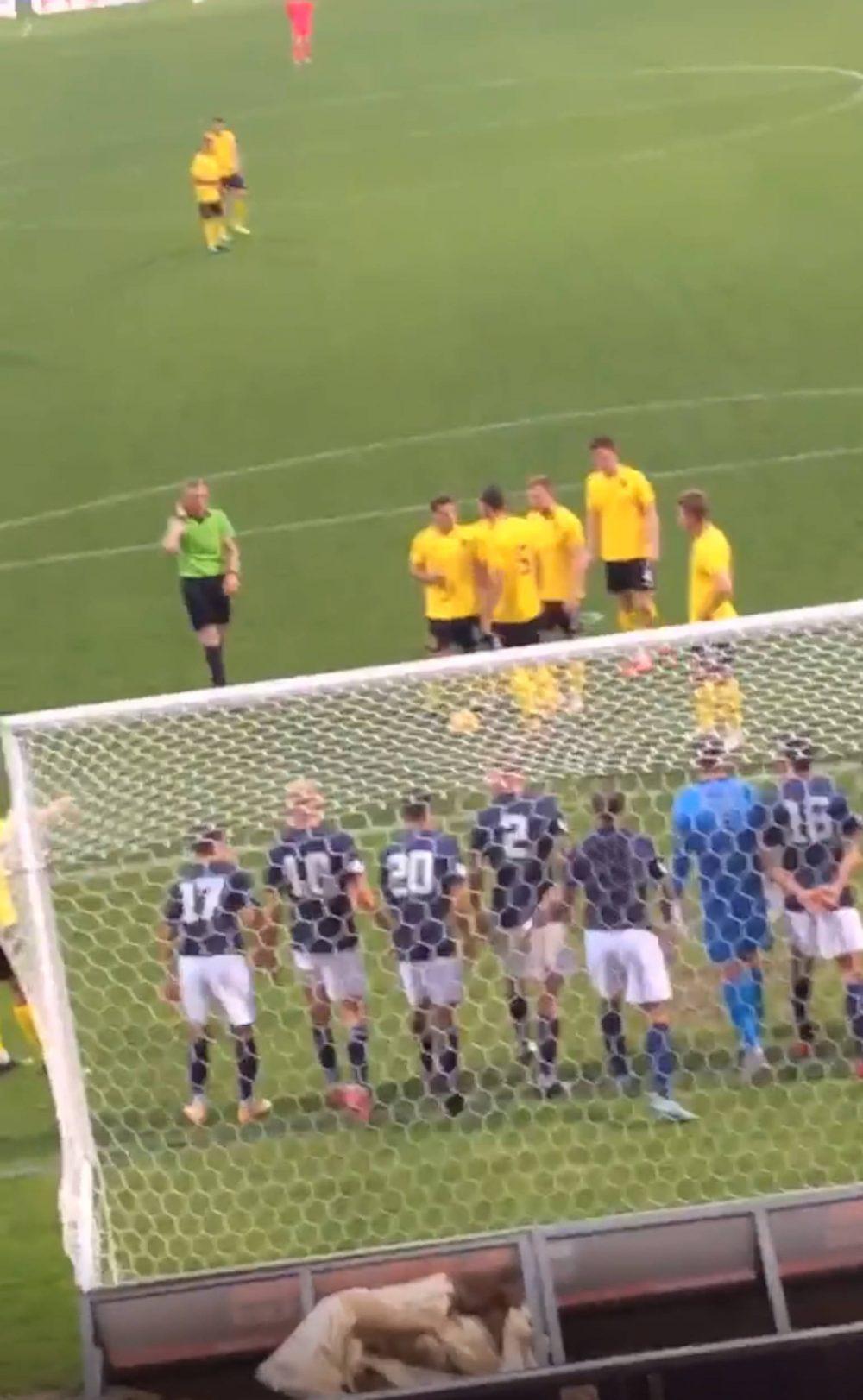 Gregor Buchanan prepares to take the free kick   Scottish Football News