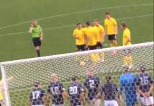 Gregor Buchanan prepares to take the free kick | Scottish Football News