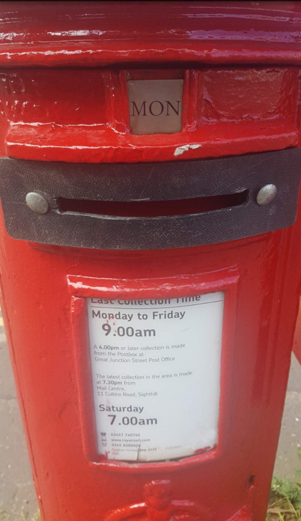 Postbox restrictive plate - Edinburgh News