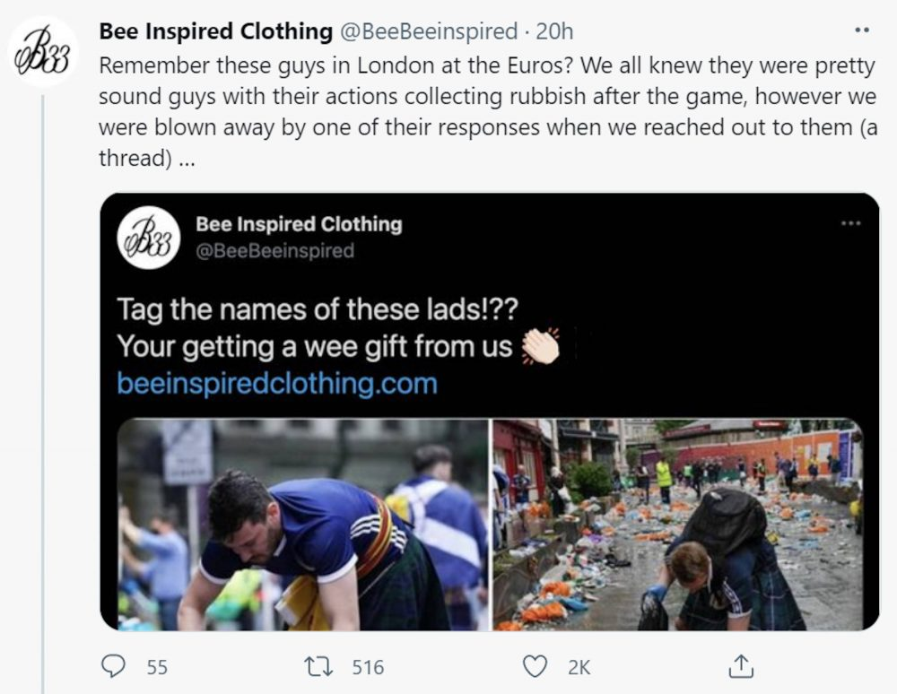Bee Inspired Clothing share the generous act on Twitter | Scottish News