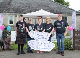 street party holding sign - Scottish News