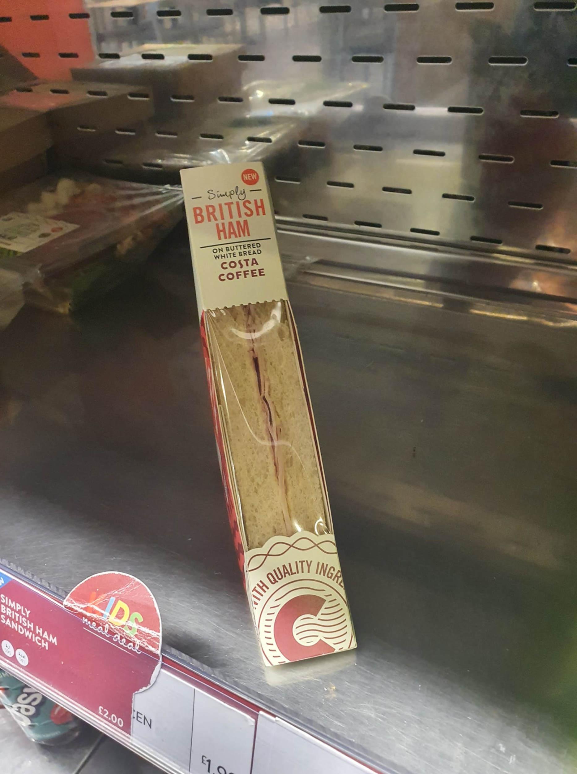 Half ham sandwich with price tag - Consumer News UK