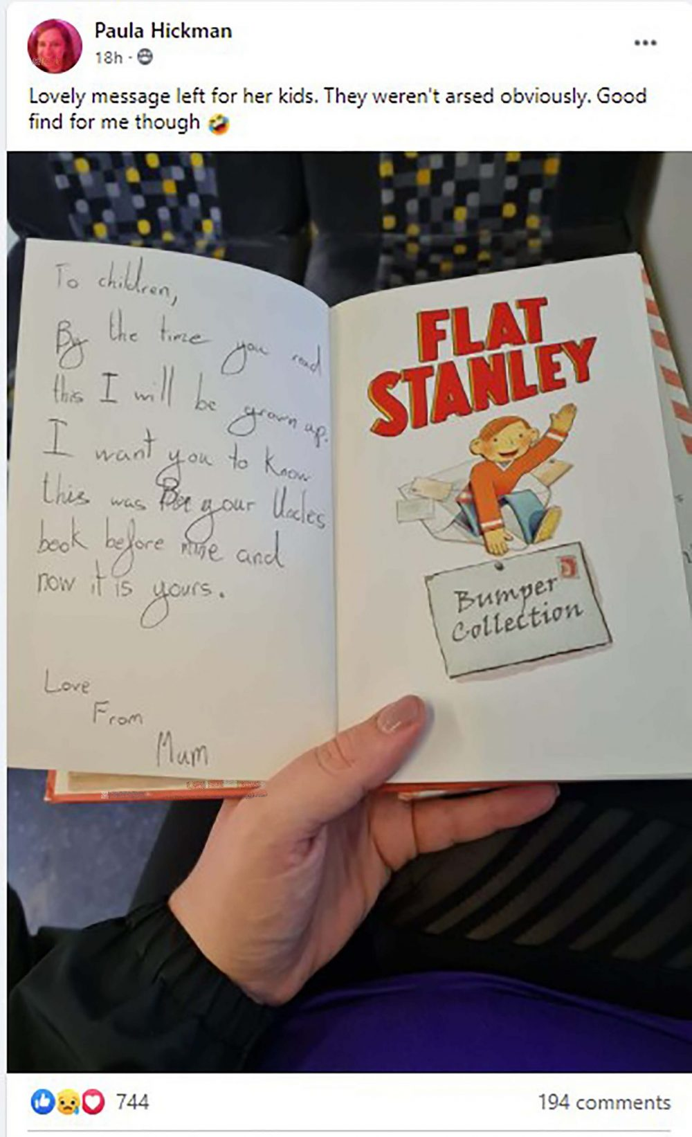 The book with the note - UK News