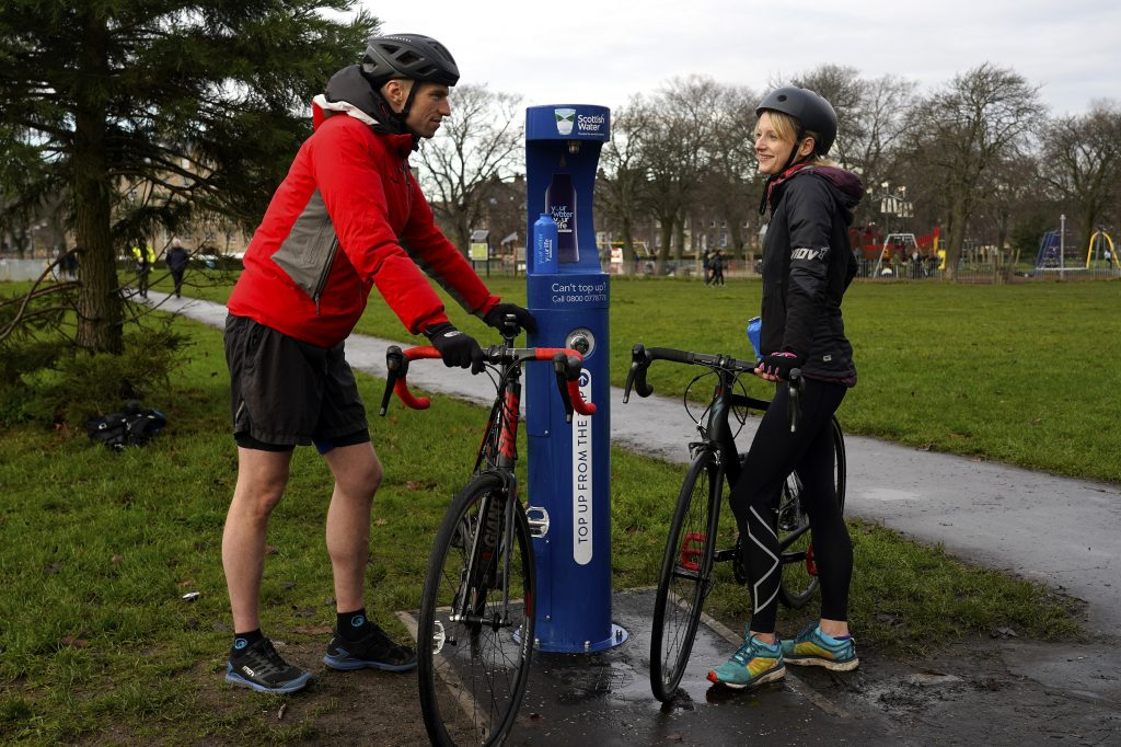 Scottish Water Top Up Tap Challenge, Your Water Your Life, Race Fitness, Blair Hamilton and Sarah Craig