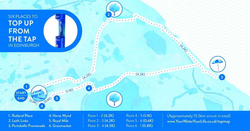 Scottish Water Top Up tap challenge, Six fountain circuit social map