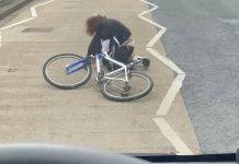 The cyclist sprawled on the pavement - Traffic News UK