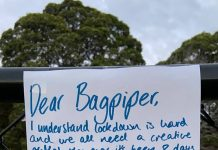 The note begging the bagpiper to stop | Scottish Music News