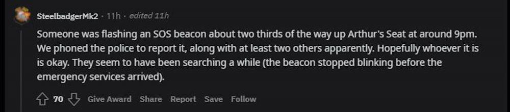 Reddit post commenting on Arthur's Seat incident - Scottish News