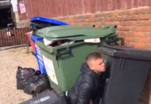 Boozed up punter jumps in wheelie bin | Video News UK