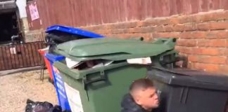 Boozed up punter jumps in wheelie bin   Video News UK