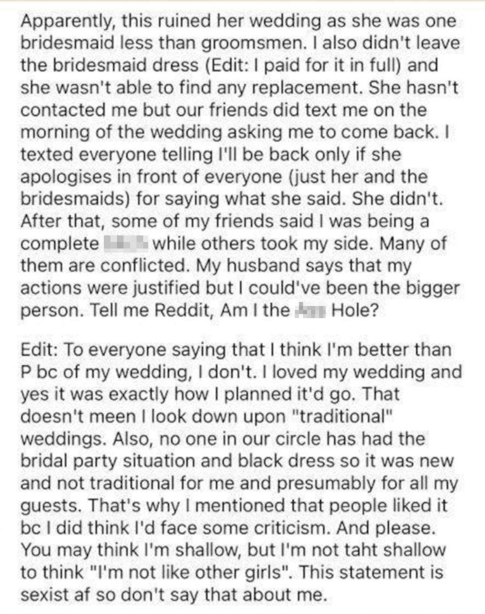 Quitting bridesmaid fallout - wedding news