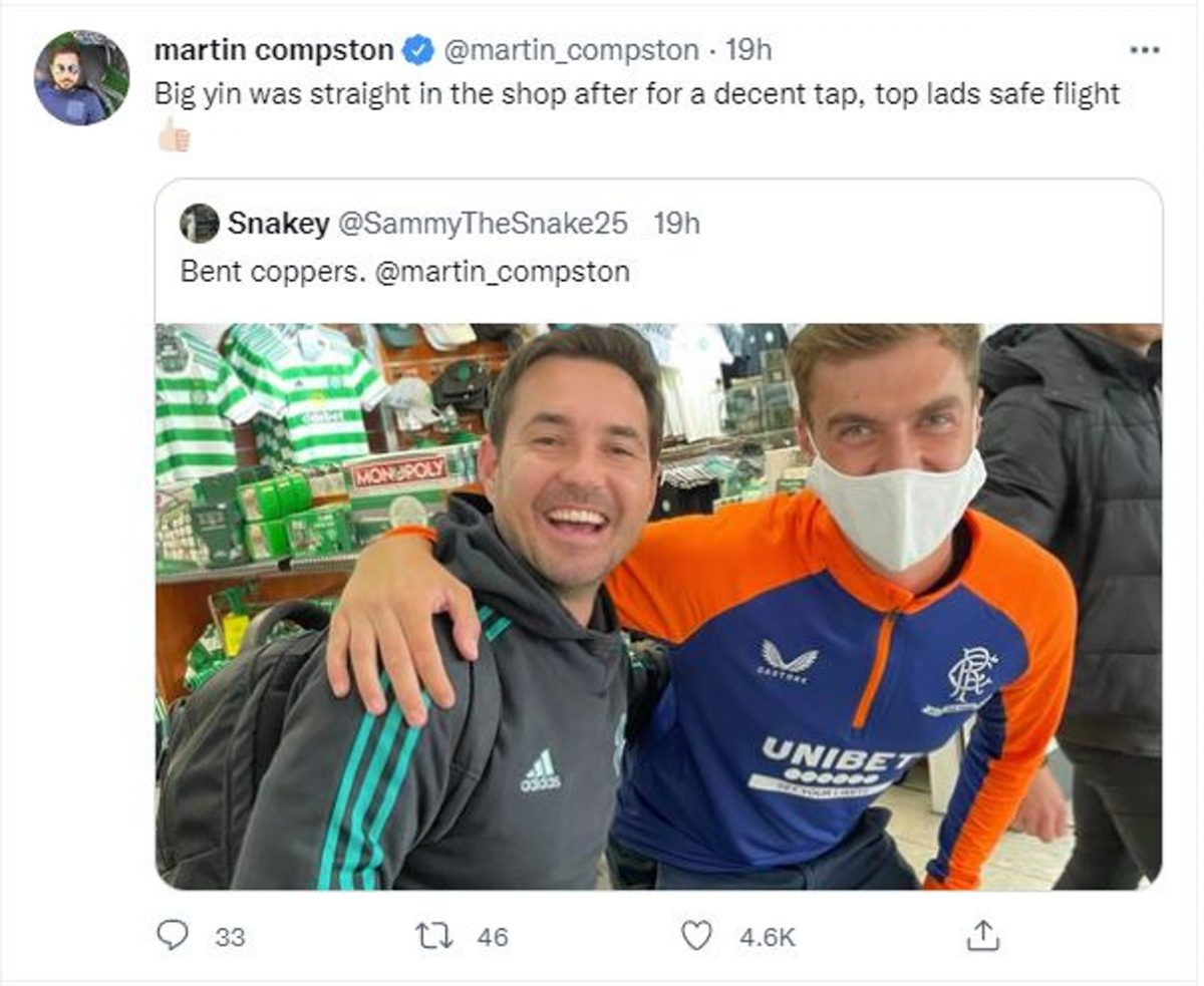 Martin Compston jokes with Rangers fan about going into the Celtic Shop.