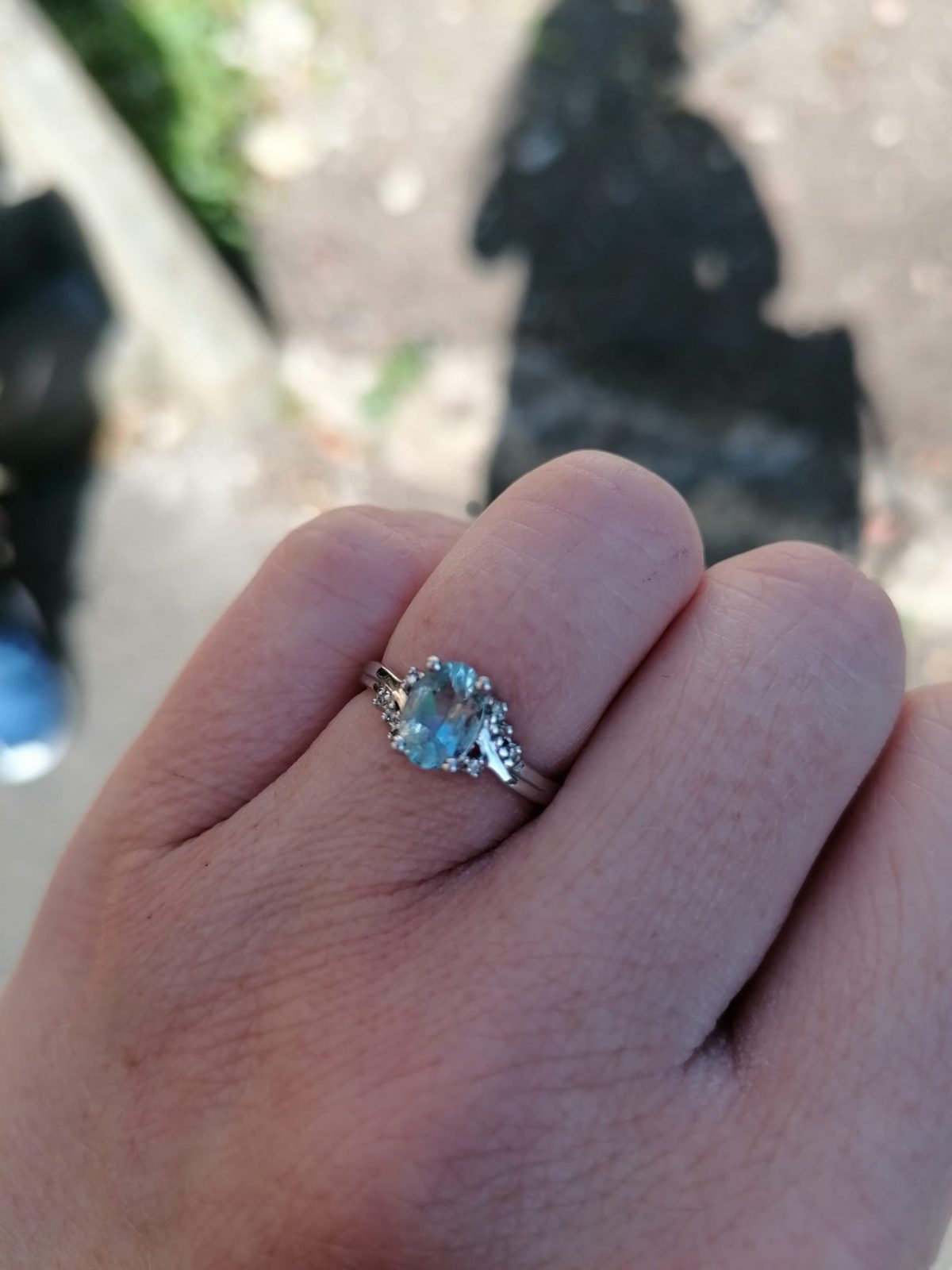 Milly Reece's engagement ring photographed in Lincoln Arboretum