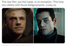 Jen Campbell tweet highlighting facial disfigurements of James Bond villains.