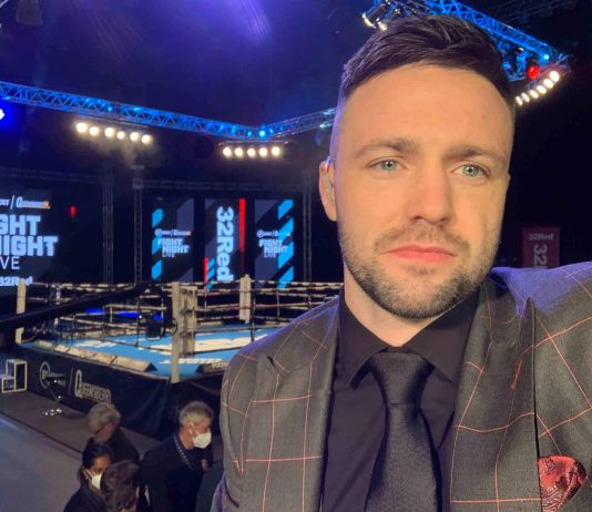 Josh Taylor Selfie by boxing ring