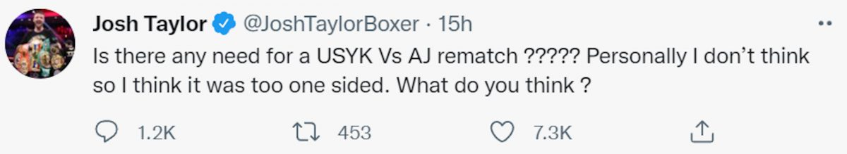 Josh Taylor shares opinions on Twitter