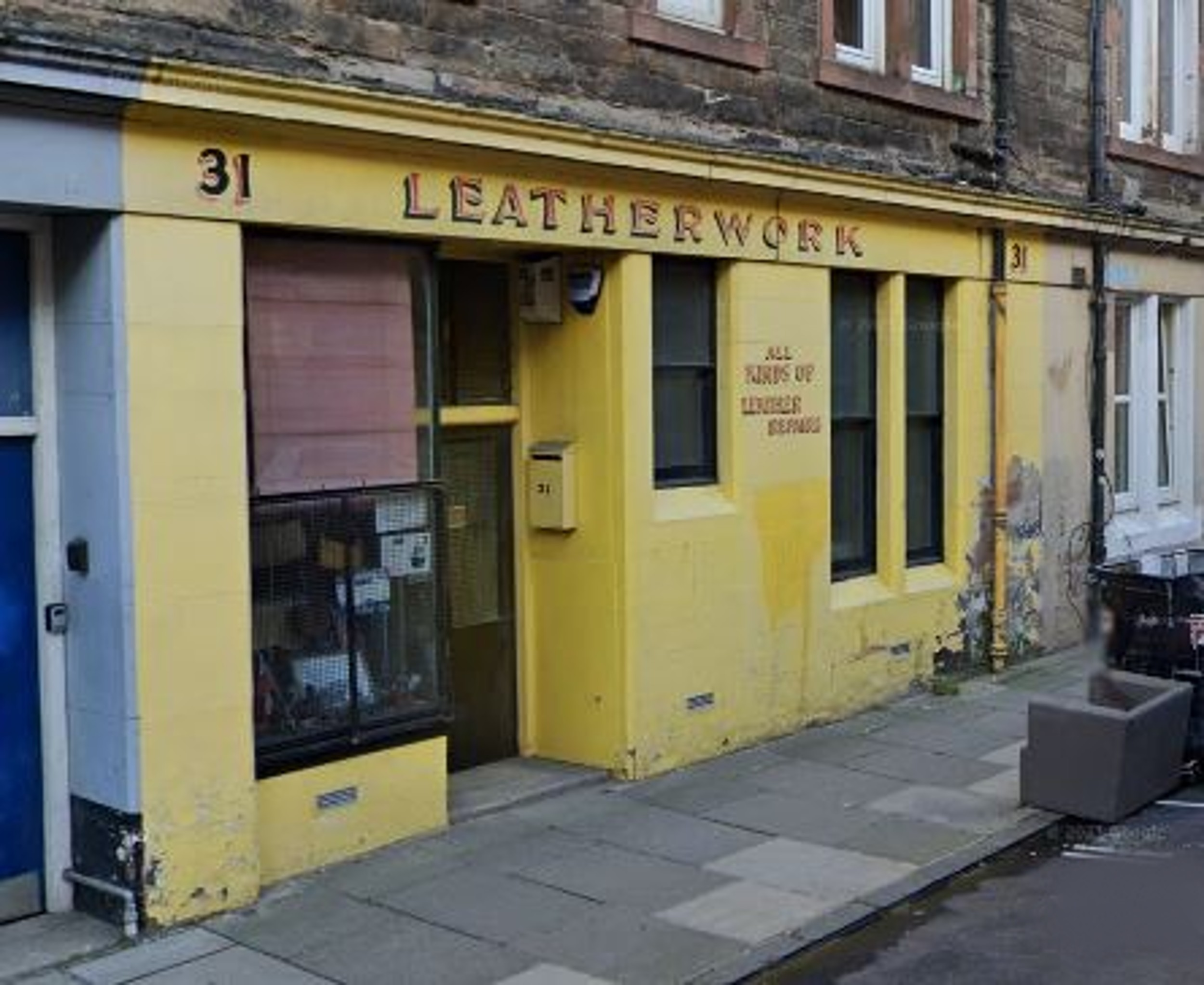 Leatherwork's famous yellow shop front