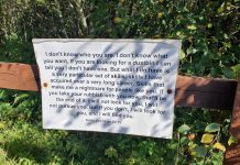 """The sign styled after Liam Neeson's famous """"Taken"""" speech"""