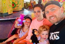 Lucy, her partner Antony and her kids at Alton Tower