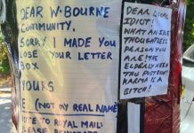 The postbox with the vandal's apology note attached, and subsequent response notes from locals.