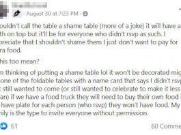 Shame table post - wedding news