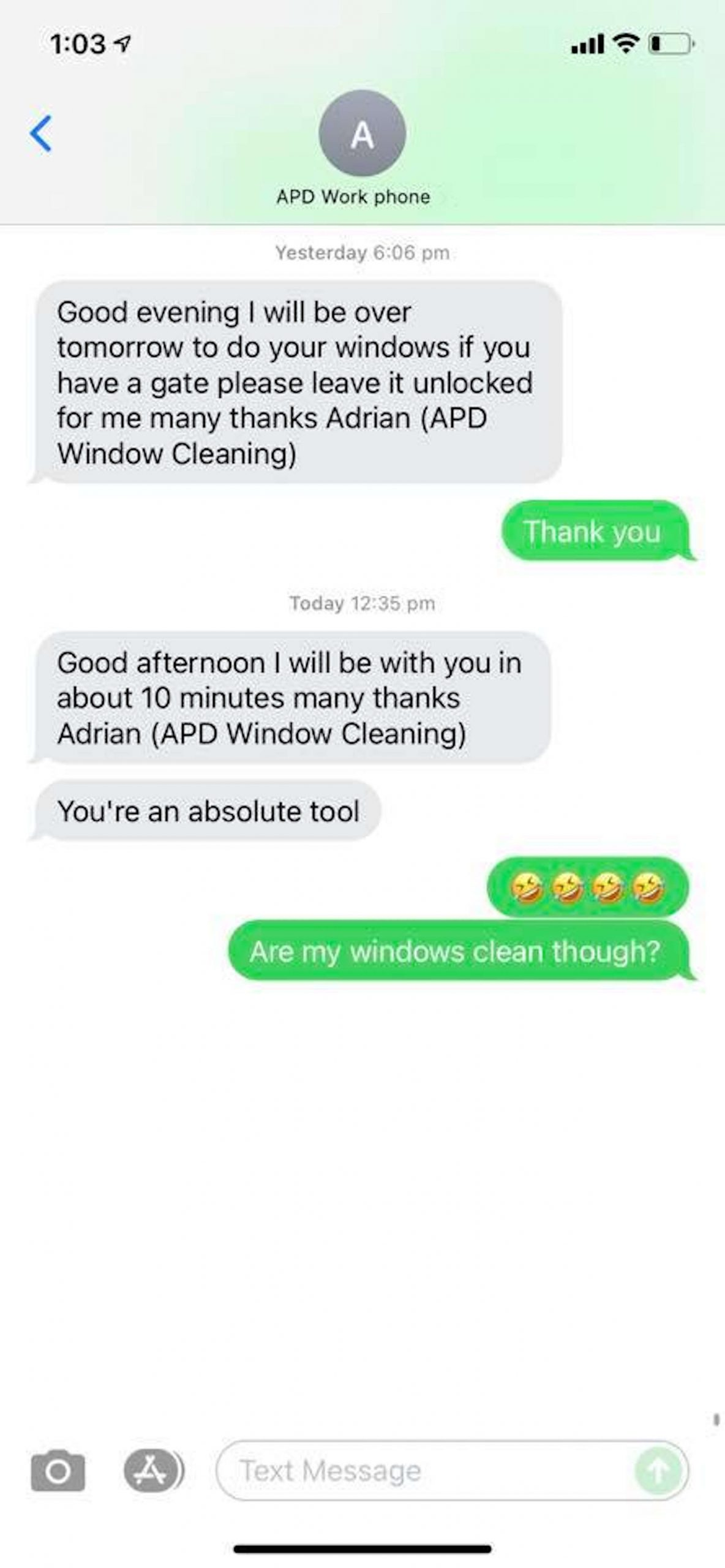 Text from Adrian after arriving at house - UK News