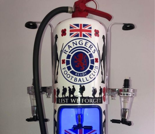 One of the Rangers-inspired fire extinguishers