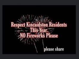 Facebook plea for no fireworks in Kincaidston this year.