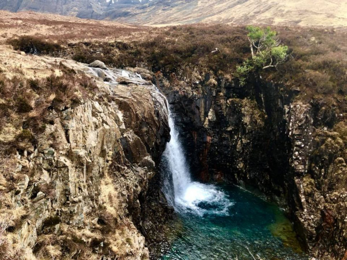View of the waterfall at the fairy pools